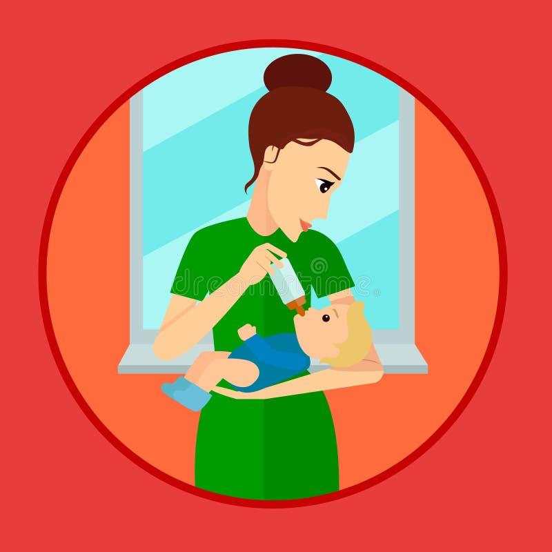 Macierzysty mienia i karmienia dziecko z dojną butelką ilustracja wektor