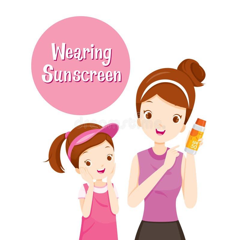 Macierzysty mienia Sunscreen Pakować I córka Szczęśliwi Z Nim royalty ilustracja