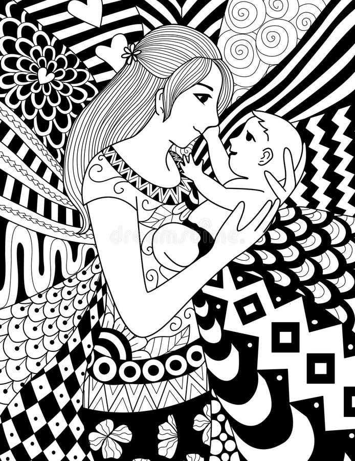 Macierzysty mienie jej dziecko, czysty kreskowy doodle sztuki projekt dla kolorystyki książki dla dorosłego, karty i w ten sposób ilustracja wektor