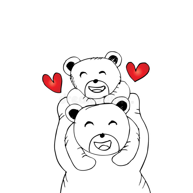 Macierzysty niedźwiedź i dziecko niedźwiedź royalty ilustracja