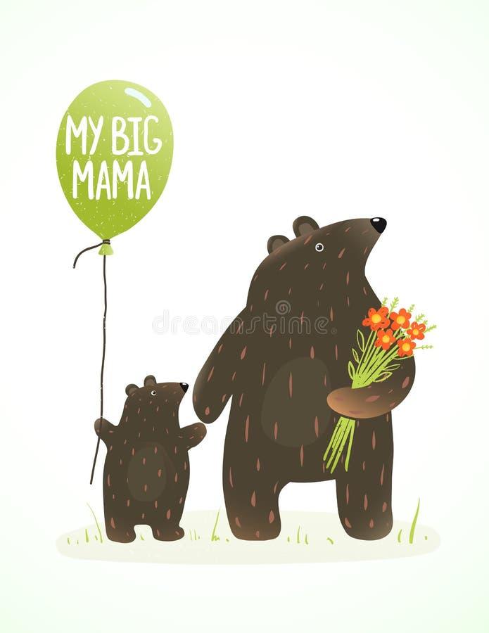 Macierzysty niedźwiedź i jej dziecko Dziecięca Zwierzęca kreskówka royalty ilustracja