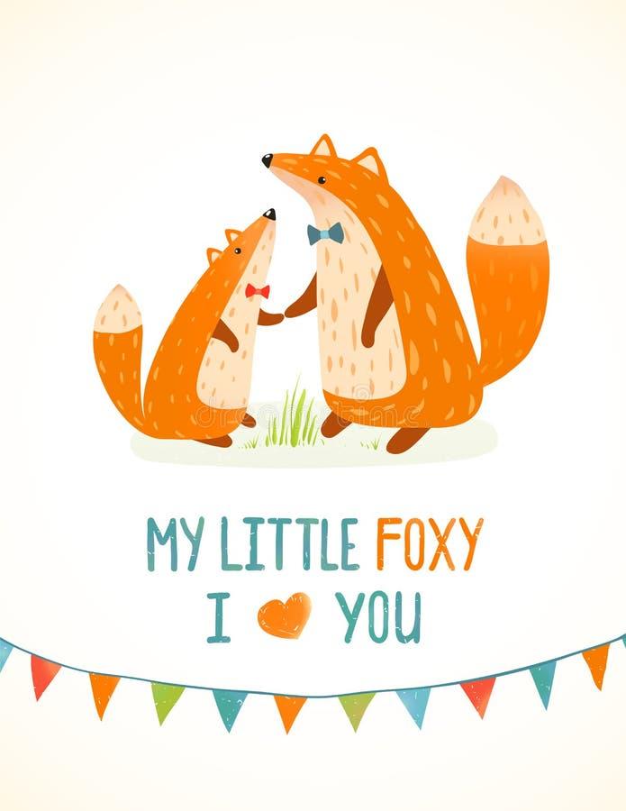 Macierzysty, ojcze Fox lub Skwaśniały dziecka kreskówko royalty ilustracja