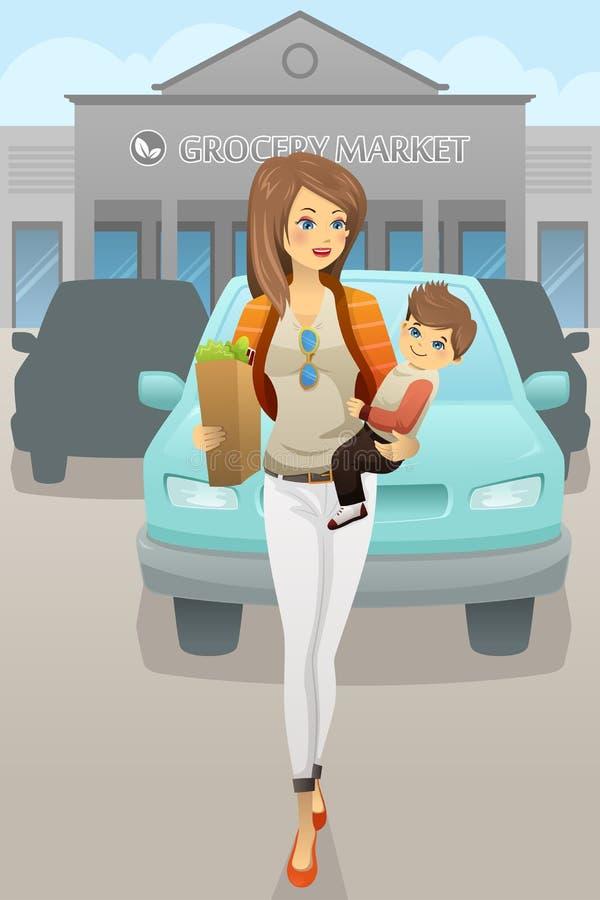 Macierzysty przewożenie jej syna i sklepu spożywczego torby royalty ilustracja