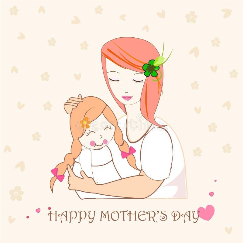 Macierzysty przytulenie jej dziecko, matka dnia kartka z pozdrowieniami ilustracja ilustracja wektor
