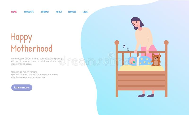 Macierzysty Trwanie pobliski Sypialny dziecko sieci wektor ilustracja wektor
