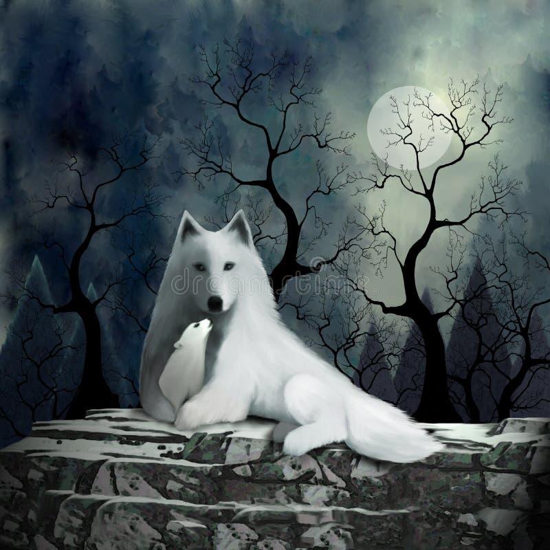Macierzysty wilk i dziecko royalty ilustracja