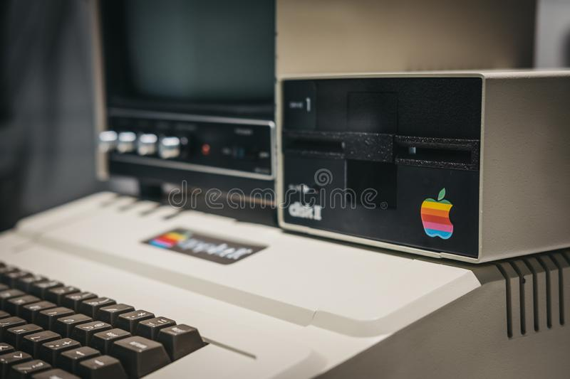 Macintosh Apple II computer on display inside Apple Museum in Prague, Czech Republic. Prague, Czech Republic - August 28, 2018: Macintosh Apple II computer on stock photography