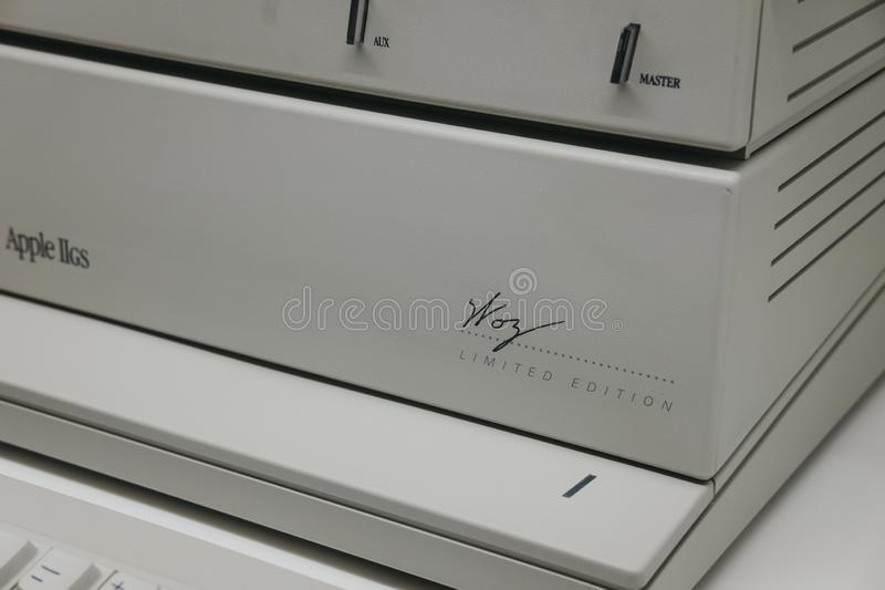 Macintosh Apple IIGS computer signed by Steve Wozniak inside Apple Museum in Prague, Czech Republic. Prague, Czech Republic - August 28, 2018: Macintosh Apple royalty free stock photography