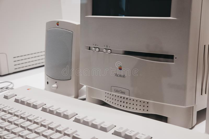 Macintosh Colour Classic computer on display inside Apple Museum in Prague, Czech Republic. Prague, Czech Republic - August 28, 2018: Macintosh Colour Classic royalty free stock photo