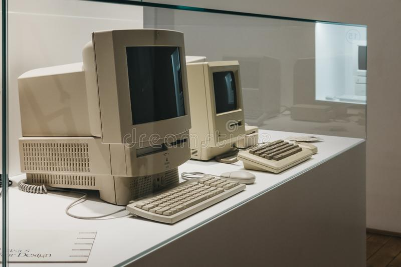 Macintosh computers on display inside Apple Museum in Prague, Czech Republic. Prague, Czech Republic - August 28, 2018: Macintosh computers on display inside stock photography