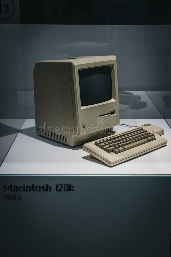 Macintosh 128K computer on display inside Apple Museum in Prague, Czech Republic. Prague, Czech Republic - August 28, 2018: Macintosh 128K computer on display royalty free stock image