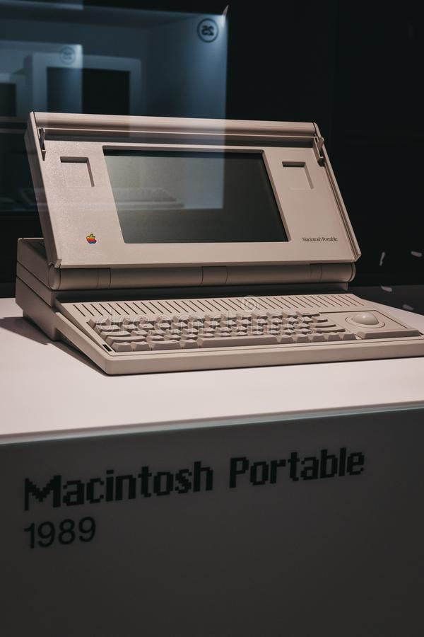 Macintosh portable computer on display inside Apple Museum in Prague, Czech Republic. Prague, Czech Republic - August 28, 2018: Macintosh portable computer on royalty free stock image