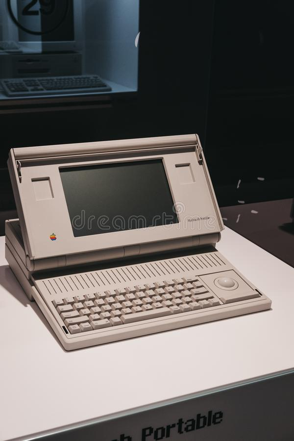 Macintosh portable computer on display inside Apple Museum in Prague, Czech Republic. Prague, Czech Republic - August 28, 2018: Macintosh portable computer on stock photo