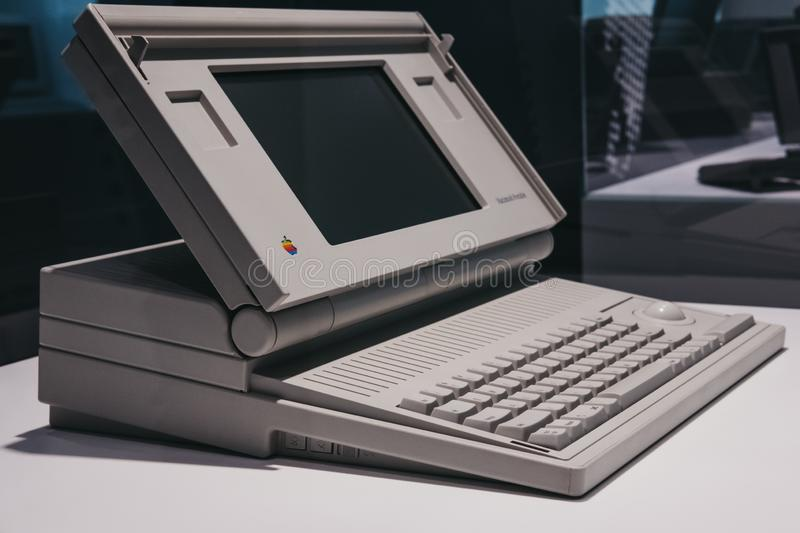 Macintosh portable computer on display inside Apple Museum in Prague, Czech Republic. Prague, Czech Republic - August 28, 2018: Macintosh portable computer on stock image