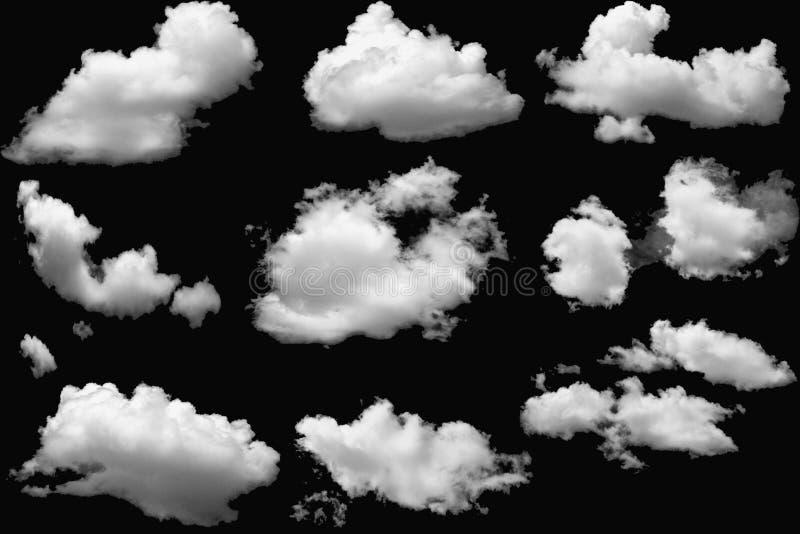 Macio branco das nuvens no fundo preto isolado fotos de stock royalty free