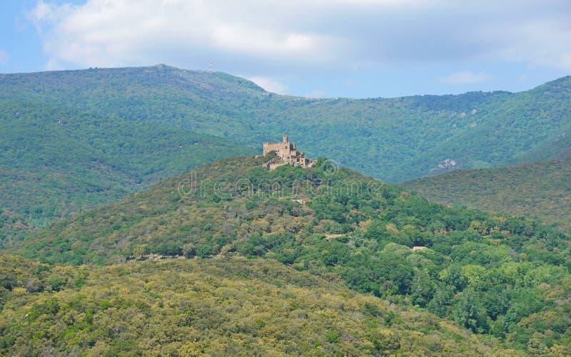 Macizo España de Neulos Albera del pico de Requesens del castillo fotografía de archivo