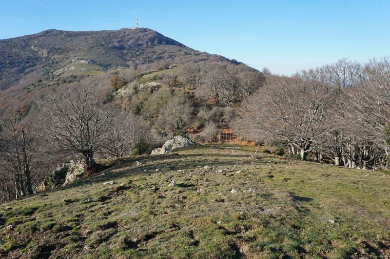 Macizo los Pirineos de Albera del paisaje de la montaña foto de archivo