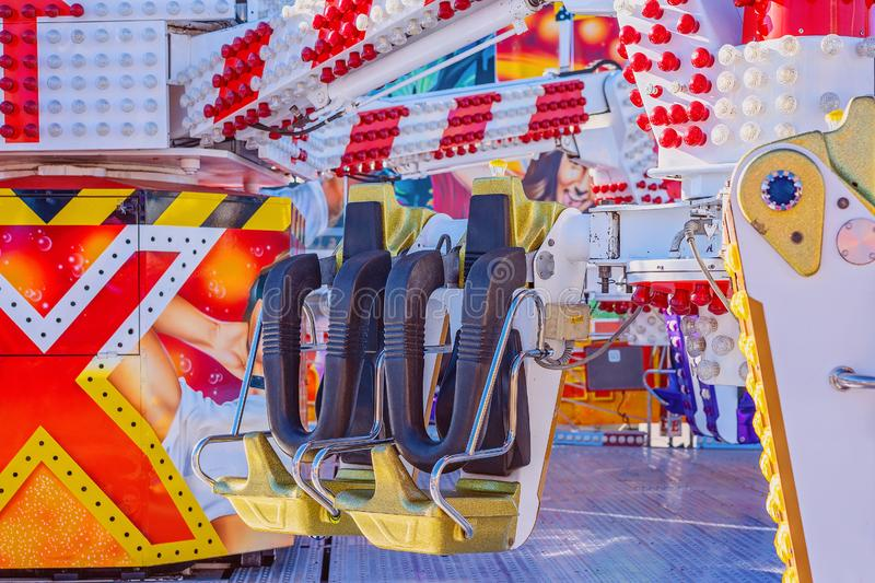 A Fast Thrill Ride At Traveling Carnival royalty free stock photography