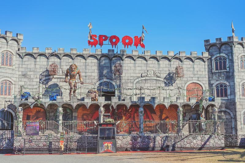 A Haunted House At a Travelling Carnival. MACKAY, QUEENSLAND, AUSTRALIA - JUNE 2019: A haunted house to spook and frighten children in fun at Mackay Annual Show royalty free stock images