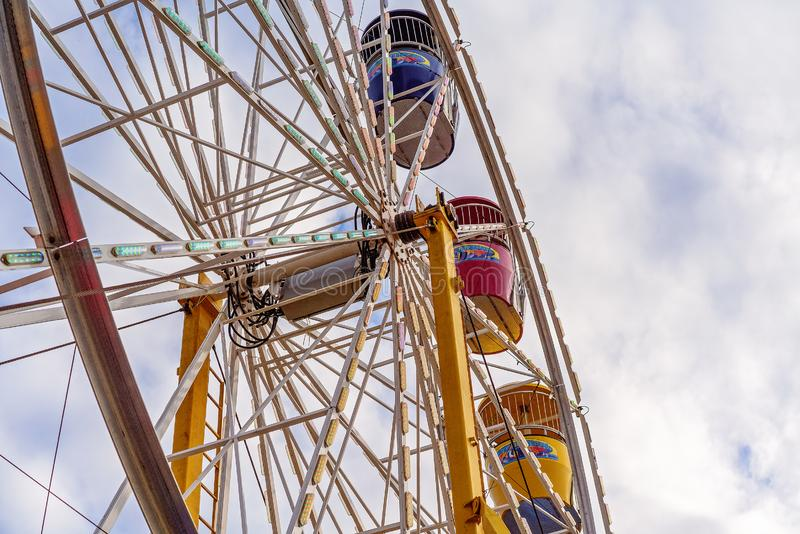 Close-Up Of Ferris Wheel Ride At Country Show. MACKAY, QUEENSLAND, AUSTRALIA - JUNE 16TH 2019: Close up of ferris wheel ride at Pioneer Valley Country Show royalty free stock photo
