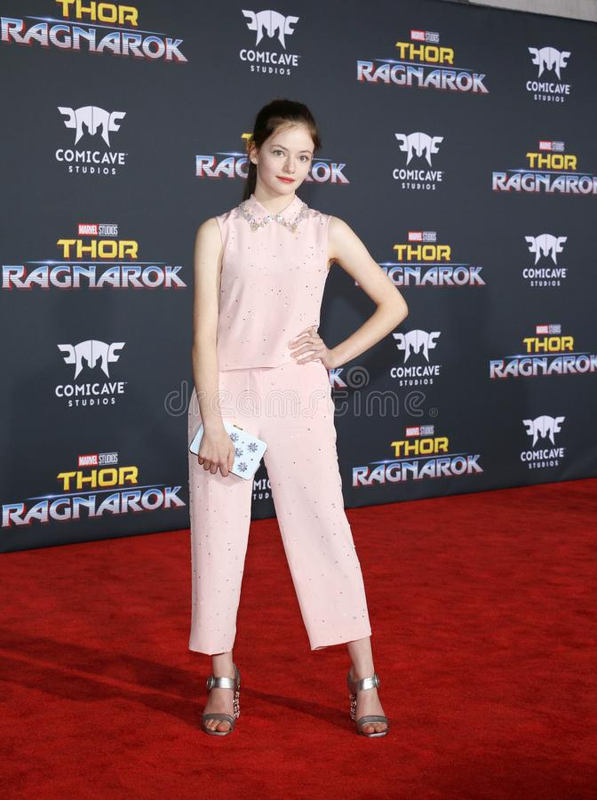 Mackenzie Foy. At the World premiere of `Thor: Ragnarok` held at the El Capitan Theatre in Hollywood, USA on October 10, 2017 royalty free stock images