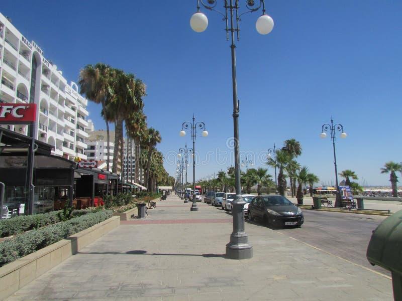 Mackenzie Quay in Cyprus, Larnaca-stad royalty-vrije stock afbeeldingen