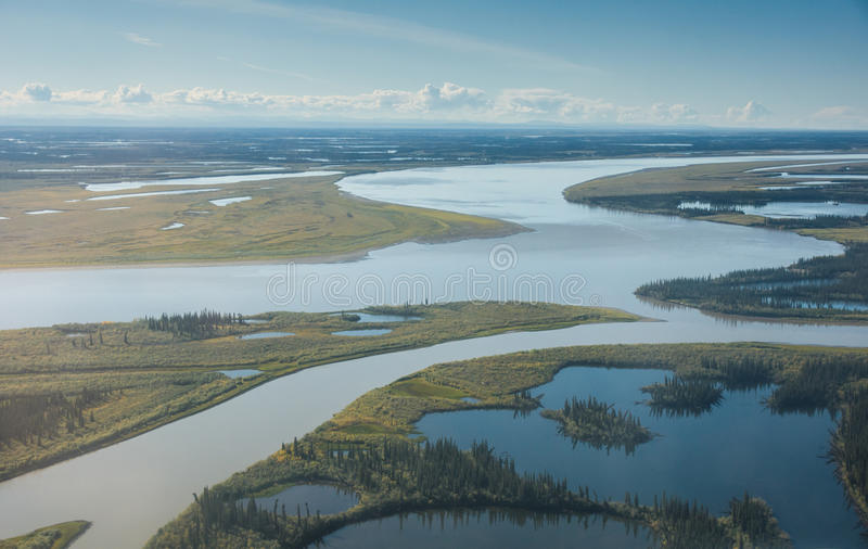 The Mackenzie River as it nears the Arctic Ocean. The Mackenzie River splits into channels as it nears the Arctic Ocean royalty free stock photo