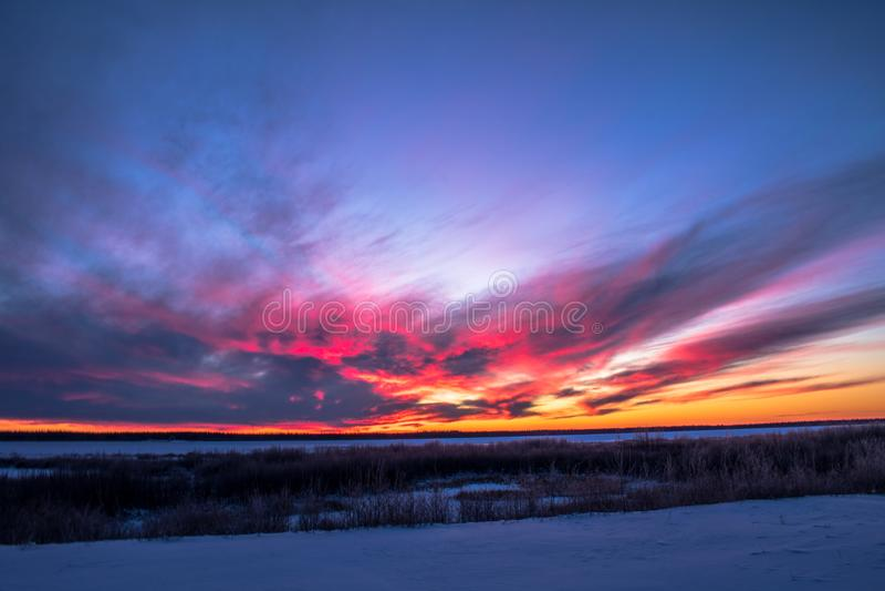 Mackenzie Sunset arkivfoton