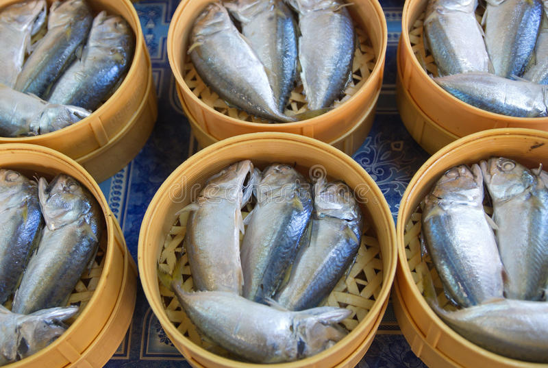 Mackerel Fish in the basket. Ready to sell, Steamed mackerel fish in basket stock photo