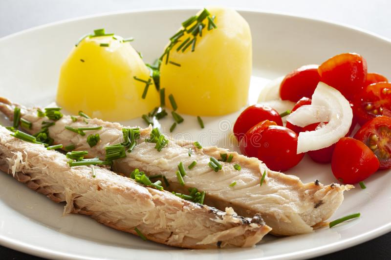 Mackerel fish dish with potatoes, chives and tomato salad. Fatty, oily fish is an excellent and healthy source of DHA and EPA, whi. Ch are two key types of omega stock photography