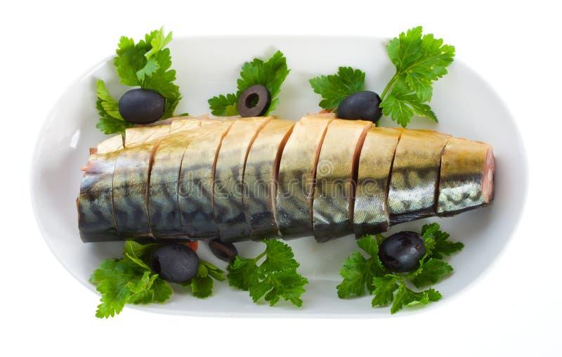 Mackerel on plate stock image