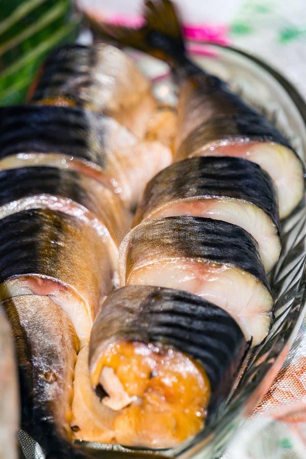 Mackerel on a plate stock photography