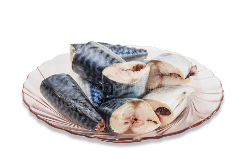 Mackerel on a plate stock images