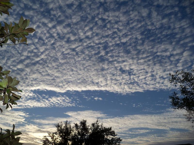 Mackerel sky early in the morning. Morning and a beautiful mackerel sky just after sunrise royalty free stock image