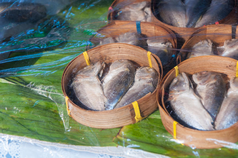 Mackerel steamed in bamboo bask. Thai gulf fish boiled cooking ready to eat pre sale in bamboo tray display for customer in tradition market thai people called royalty free stock photos