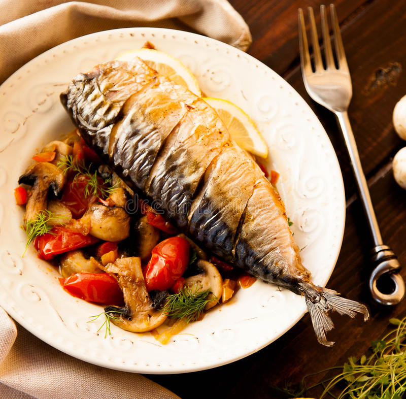 Mackerel with vegetables royalty free stock photography