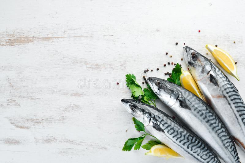 Mackerel on a white wooden background. Raw fish. Top view. Free copy space royalty free stock photo