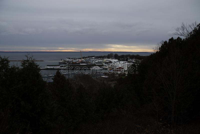 Mackinac海岛在11月 库存照片