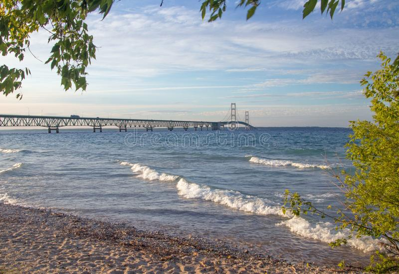 Mackinac Bridge between the great lakes of Huron and Michigan. Near Mackinac Island stock images