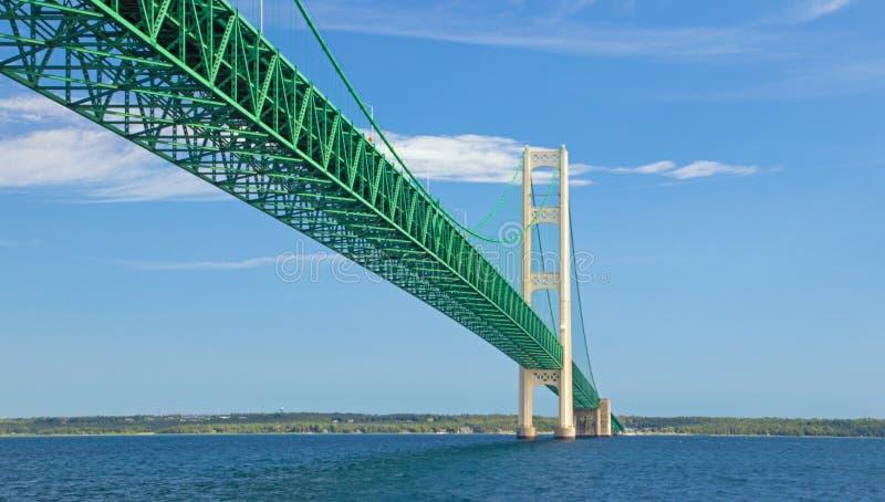 Mackinac Bridge between the great lakes of Huron and Michigan. Near Mackinac Island stock photos
