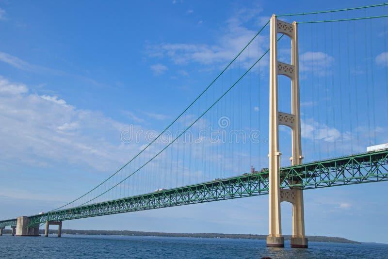 Mackinac Bridge between the great lakes of Huron and Michigan. Near Mackinac Island royalty free stock image