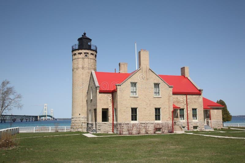 Download Mackinac Bridge And Lighthouse Stock Photo - Image: 14583300