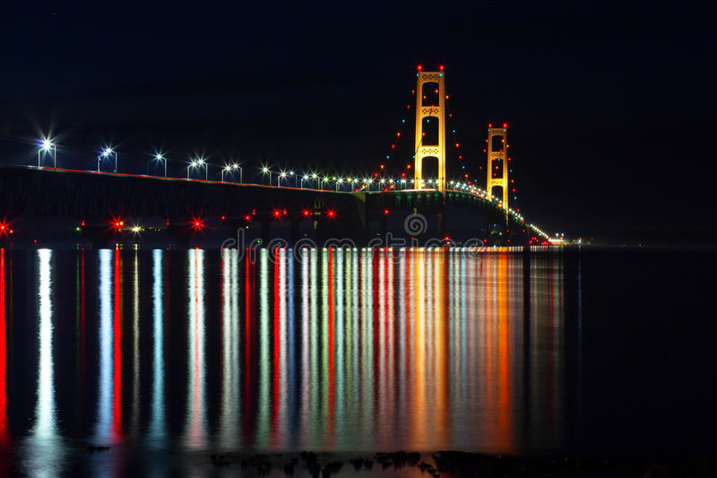 Mackinac Bridge at Night - Crayola Reflections - M stock photos