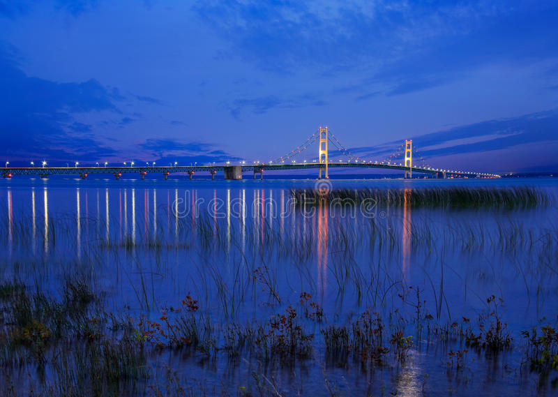 Mackinac Bridge in Twilight royalty free stock photos