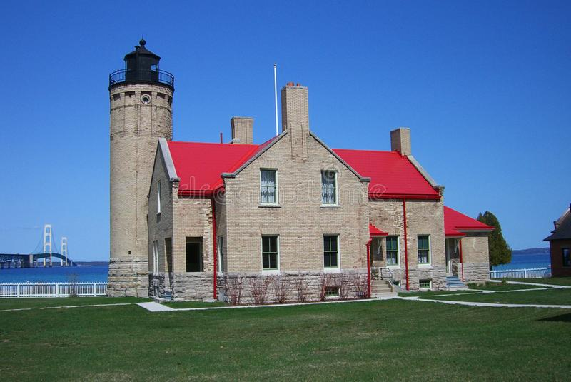 Mackinac punktu latarnia morska w Michigan i most fotografia royalty free