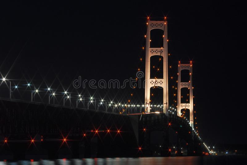 Mackinaw Bridge at Night, the Mighty Mac royalty free stock photos