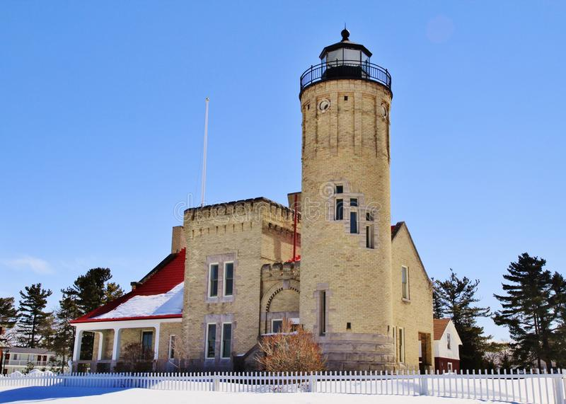 Mackinaw punktfyr royaltyfri fotografi