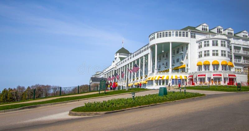 Mackinaw wyspy Grand Hotel panorama obrazy stock