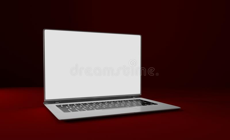 Mackup laptop on a red table. Isolated. 3D illustration. vector illustration