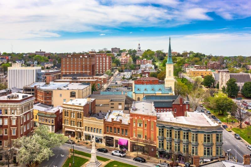 Macon, Geórgia, EUA, linha histórica do centro da cidade imagens de stock